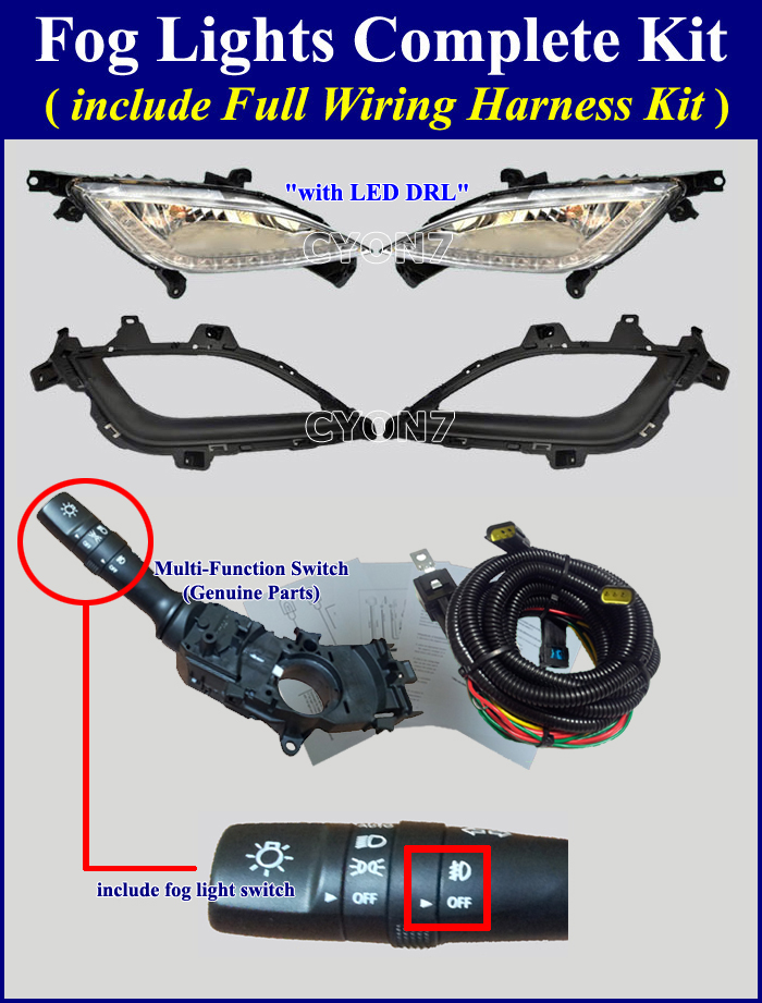 Fog light lamp complete kit wiring harness for