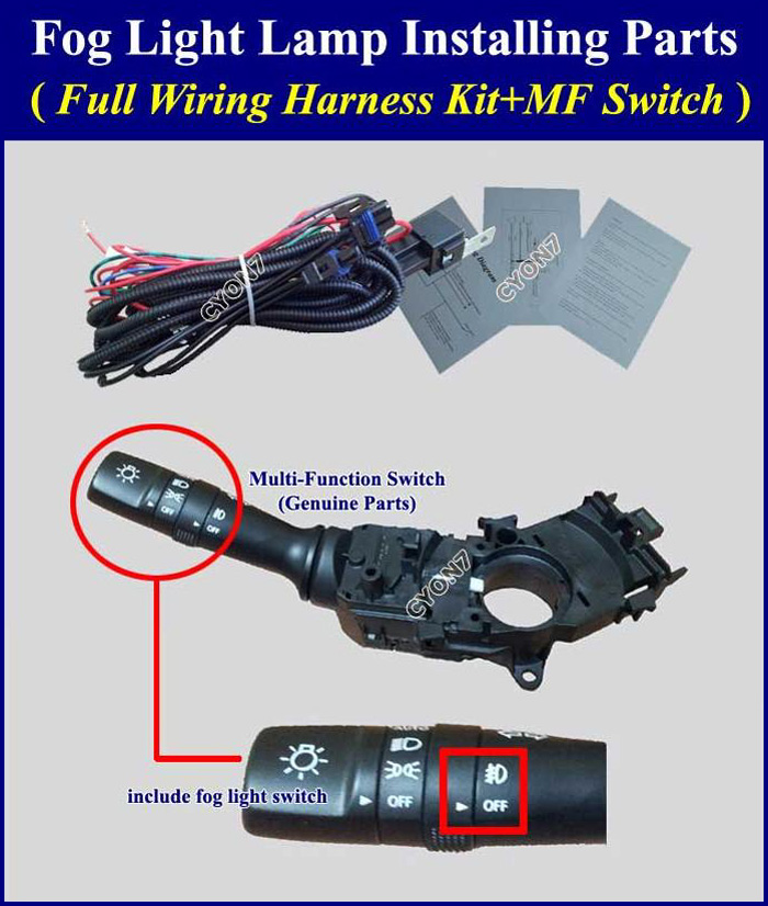 Fog Light Lamp Installing Parts  Full Wiring Harness Kit