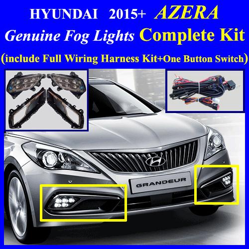 2015 Hyundai Azera Fog Light Lamp Complete Kit Wiring Harness One Button Switch Led Drl