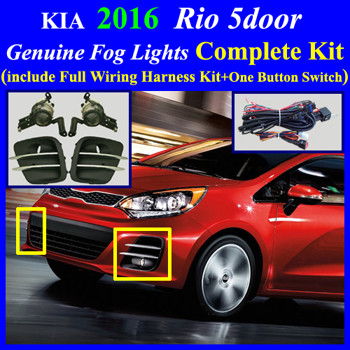 2016  Kia Rio 5door Fog Light Complete Kit Wiring Harness One Button Switch