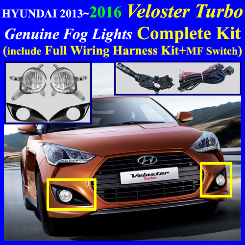 6 wire trailer harness 2013~2017 hyundai veloster turbo fog light lamp complete ...